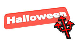 Halloween Button with Trident's Shaped Cursor. Royalty Free Stock Photography