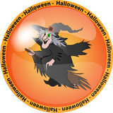 Halloween button with a witch Royalty Free Stock Images