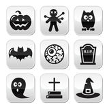 Halloween buttons set - pumpkin, witch, ghost, grave Stock Photo