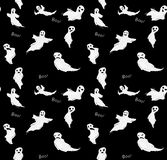 Halloween BW funny ghost seamless vector pattern. royalty free stock photo
