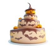 Halloween cake 3d on a white background Royalty Free Stock Images