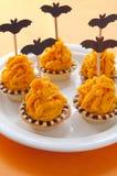 Halloween cake with orange cream Stock Images