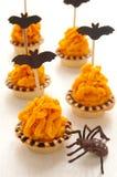 Halloween cake with orange cream Royalty Free Stock Images