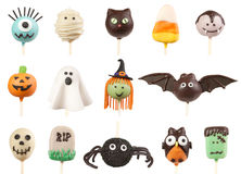 Halloween cake pops. Variety of Halloween cake pops isolated on white background Royalty Free Stock Photo