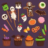 Halloween cookie cake symbols of food for creepy party vector illustration Stock Images