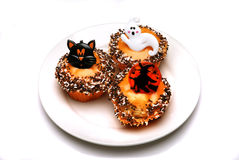 Halloween cakes. On a plate royalty free stock photography