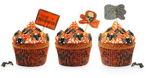 Halloween cakes set. Halloween cakes with decoration set isolated on white Royalty Free Stock Photography