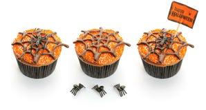 Halloween cakes set. Halloween cakes with decoration set isolated on white Royalty Free Stock Image