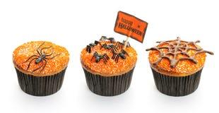 Halloween cakes set. Halloween cakes with decoration set isolated on white Royalty Free Stock Photo