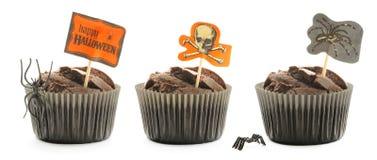 Halloween cakes set. Halloween cakes with decoration set isolated on white Royalty Free Stock Photos