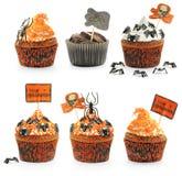Halloween cakes set. Halloween cakes with decoration set isolated on white Stock Photos