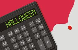Halloween, The calculator and blood on office tabl. Vector illustration on theme of Halloween  - Death at office. The calculator with inscription HALLOWEEN  on Royalty Free Stock Images