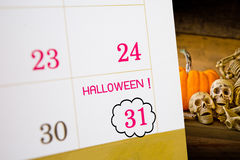 Halloween calendar with 31 date. Halloween calendar with date october 31 Stock Image