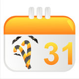 Halloween calendar icon. With candies Stock Photo