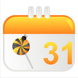 Halloween calendar icon. With lollipop Stock Photos