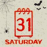 Halloween. Calendar icon 31 october Halloween. Vector grunge illustration Stock Photos