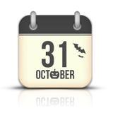 Halloween calendar icon with reflection. 31 Octobe. 31 October Calendar Icon with reflection Stock Photos