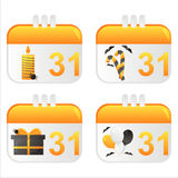 Halloween calendar icons. Set of 4 halloween calendar icons Royalty Free Stock Images