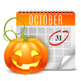 Halloween Calendar. With October 31 date and pumpkin Stock Photography