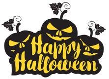 Halloween calligraphic inscription with pumpkins Stock Image