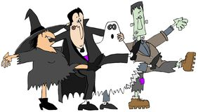 Halloween-cancan stock illustratie