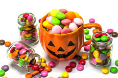 Halloween candies. Over white background stock photos