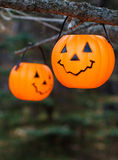 Halloween candleholders pumpkin jack. Hanging on the brunch Stock Photography
