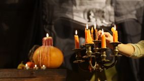 Halloween Candlestick. Set Afire stock video