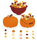 Halloween candy. In pumpkin and bowl Stock Image