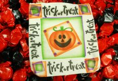 Halloween Candy. A trick or treat bag on hallowen candy stock image