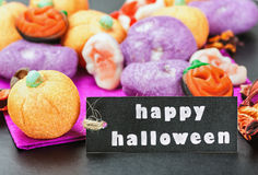 Halloween candy and black label Stock Photography