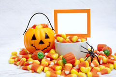 Halloween Candy with Blank Card Royalty Free Stock Images