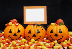Halloween Candy with Blank Card Royalty Free Stock Photo