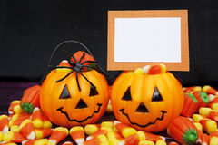 Halloween Candy with Blank Card Royalty Free Stock Image