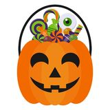 Halloween Candy Bucket and Candies. Jack O Lantern Halloween candy bucket with handle holding many colorful Halloween candies isolated on white background stock illustration