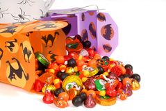 Halloween candy in chinese containers stock images