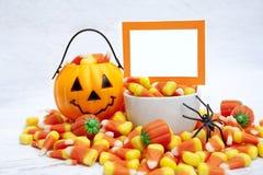 Halloween Candy con la carta in bianco Immagini Stock Libere da Diritti