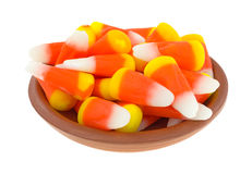 Halloween candy corn in bowl Royalty Free Stock Image