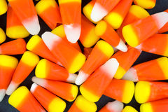 Halloween candy corn on a dark background Royalty Free Stock Photo