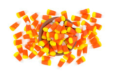 Halloween candy corn mess with bowl Stock Image