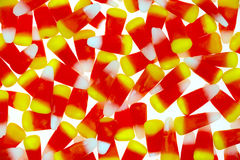 Halloween Candy Corn On A White Background Very Close View Stock Photos