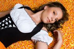 Halloween Candy Girl. Beautiful halloween candy corn girl Royalty Free Stock Image