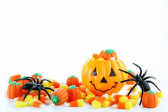 Halloween candy. With jack o lantern Royalty Free Stock Photos