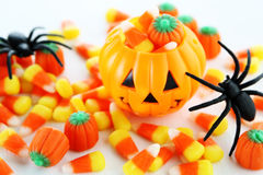 Halloween candy. With jack o lantern Royalty Free Stock Photo