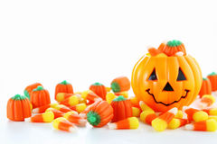 Halloween candy. With jack o lantern Royalty Free Stock Image