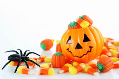 Halloween candy. With jack o lantern Stock Photo