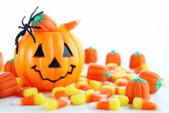 Halloween candy. With jack o lantern Royalty Free Stock Photography