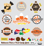 Halloween Candy Labels and Stickers. Collection of Halloween labels and stickers with trick or treat theme Royalty Free Stock Images