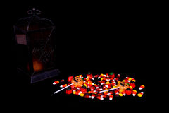 Halloween Candy and Lantern Royalty Free Stock Images