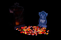 Halloween Candy, Lantern and Gravestone Royalty Free Stock Photo